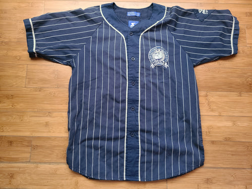 Vintage Mens Starter Georgetown Hoyas Pinstripe Button Up Jersey Size Medium-Navy Blue