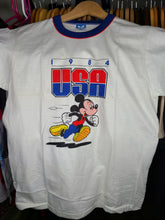 Load image into Gallery viewer, Vintage Mens Disney Mickey Mouse 1984 USA Olympic Tshirt Size Medium-White