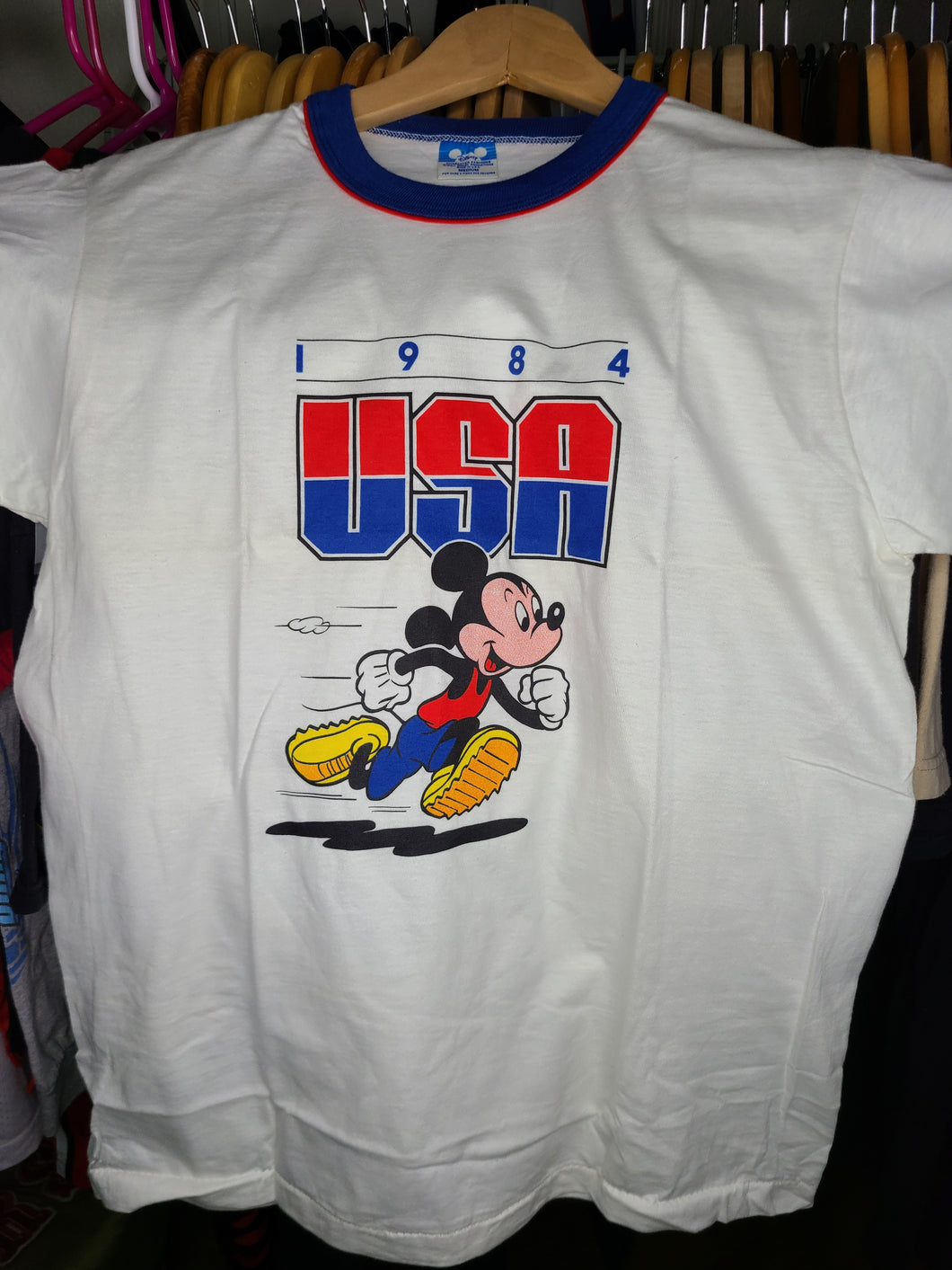 Vintage Mens Disney Mickey Mouse 1984 USA Olympic Tshirt Size Medium-White