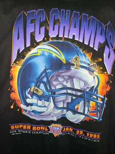 Vintage Mens Salem Sportswear San Diego/Los Angeles Chargers 1994 AFC Champs Tshirt Size Large-Black