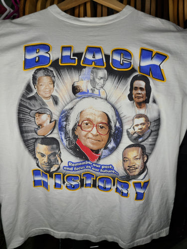 Vintage Mens Black History Great African Americans Tshirt Size Large-White