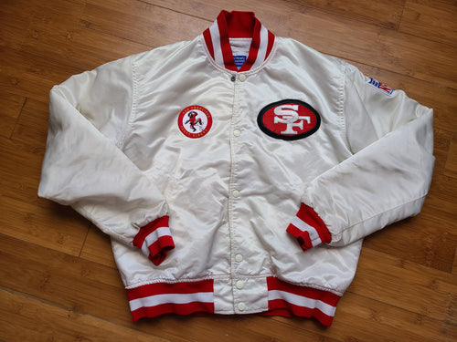 Vintage Mens Starter San Francisco 49ers Satin Jacket Size Medium-White