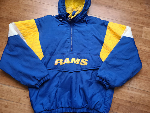 Vintage Mens Starter Los Angeles Rams 3/4 Pullover Jacket Size Large-Blue