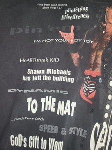 Rare Vintage Mens 1995 WWF Shawn Michaels HBK Tshirt Size Medium-Black