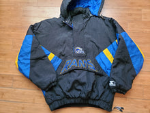 Load image into Gallery viewer, Vintage Mens Starter Los Angeles Rams 3/4 Pullover Hooded Jacket Size Large-Black