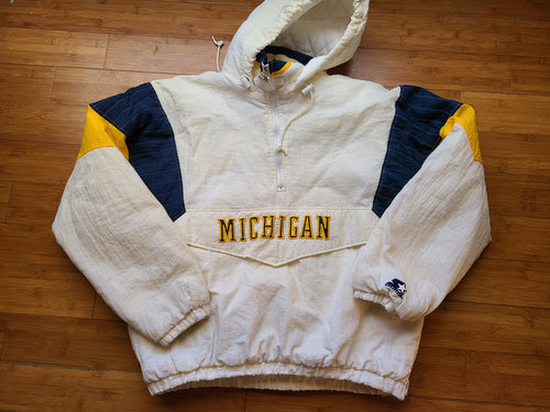 Rare Vintage Mens Starter Michigan Wolverines 3/4 Pullover Jacket Size XL-White