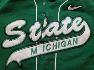 Mens Nike Michigan State Spartans Pro Cut Baseball Jersey Size 38-Green