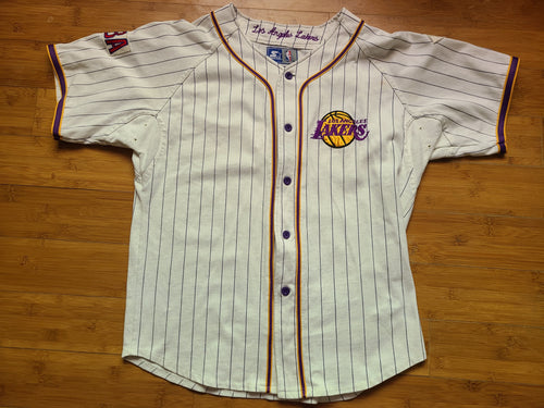 Vintage Mens Starter Los Angeles Lakers Pinstripe Jersey Size Medium-White