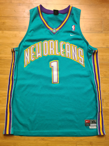 Vintage Mens Nike New Orleans Hornets Baron Davis Swingman Jersey Size XL-Teal