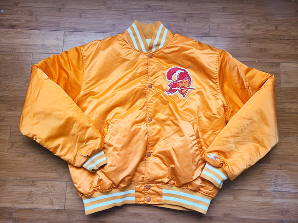 Vintage Mens Starter Tampa Bay Buccaneers Satin Jacket Size XL-Orange
