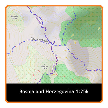 Bosnia and Herzegovina (Whole) Adventure Map 1:25k