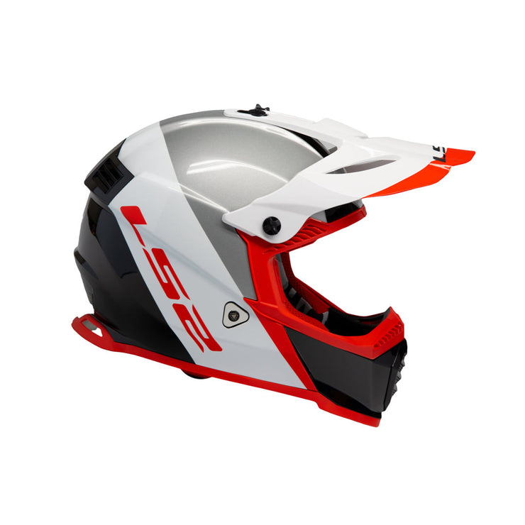 LS2 Gate Youth Launch Full Face MX Motorcycle Helmet White/Red/Blk