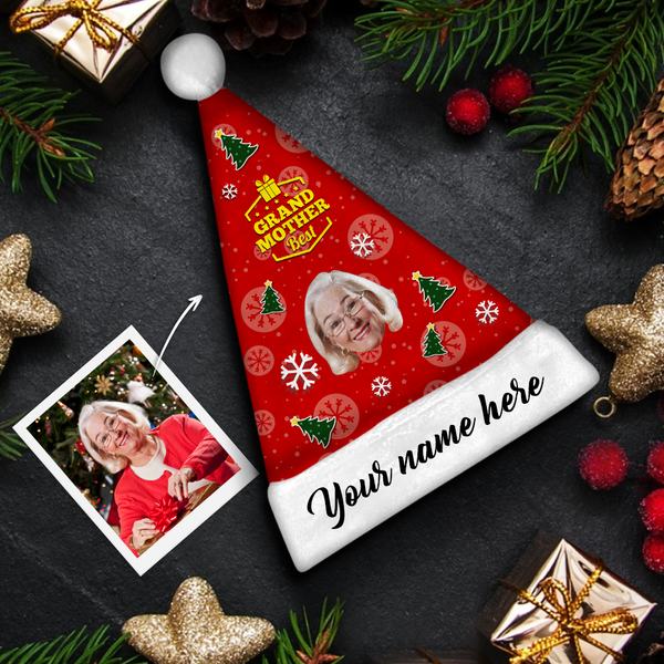 Plush Velvet My Face & Name Personalized Best GrandMother Santa Hat - For Man, Woman, Kid