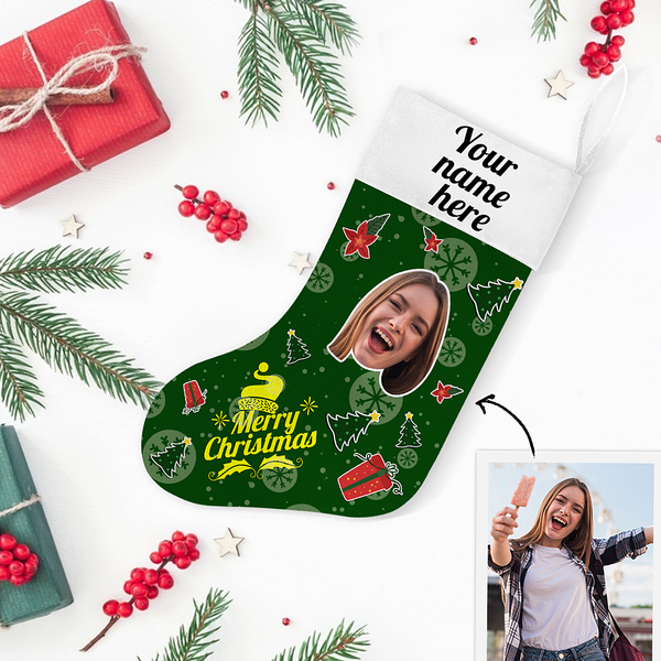 My Name & Face Personalized Merry Christmas Green Stockings - For Man, Woman, Kid