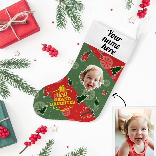 My Name & Face Personalized Best Grand Daughter Christmas Green Stockings - For Man, Woman, Kid