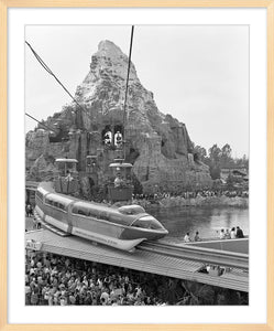 """Disneyland Matterhorn, Skyway, Monorail & Submarines"" from Disney Photo Archives"