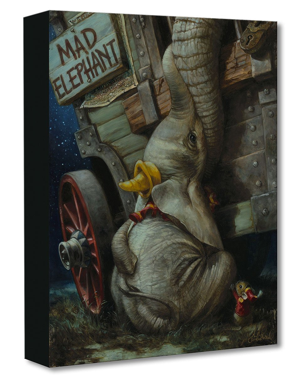 Painting of Disney's Dumbo, a baby elephant, being cradled in his mother's trunk while she reaches through the barred window of a train car.