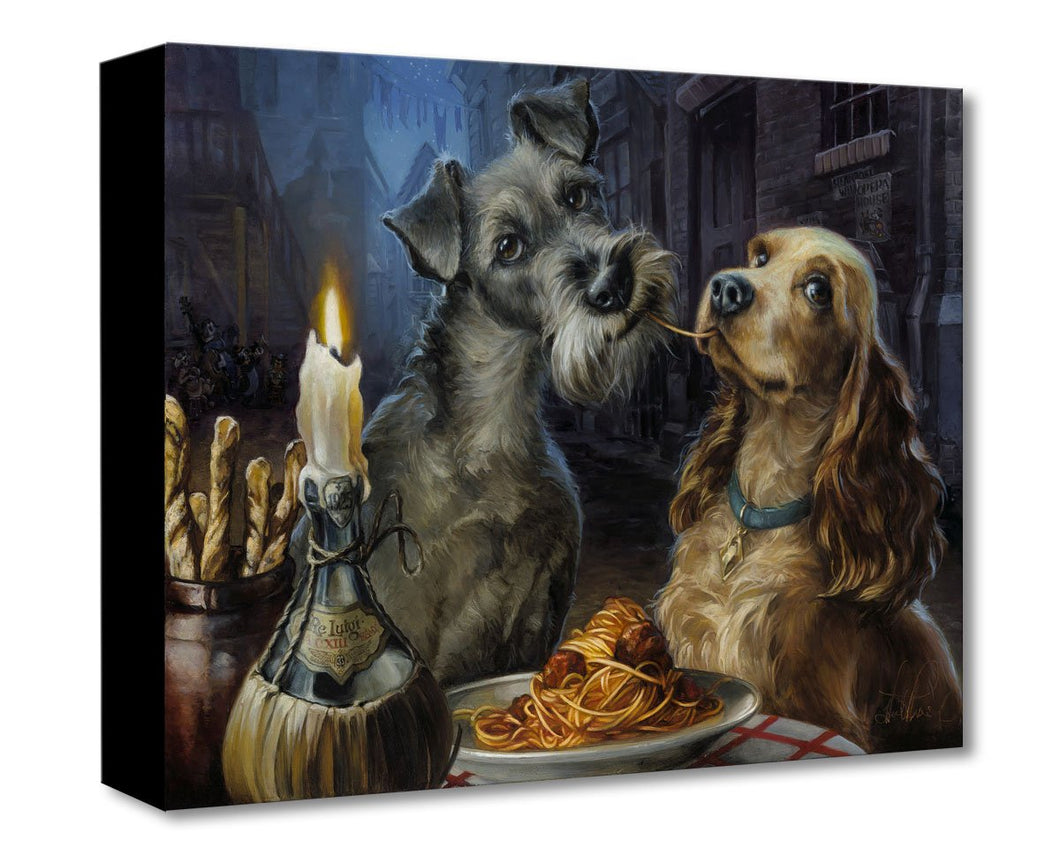 Painting of two dogs, Lady and Tramp, from the Disney film Lady and the Tramp, sharing a plate of spaghetti , by candle light.