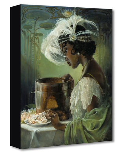 Painting of the Disney character Princess Tiana, from Disney's The Princess and the Frog, dressed in a green and white gown, preparing a plate of gumbo.