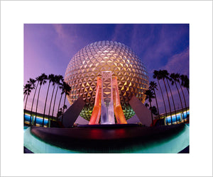 """Spaceship Earth at Dusk"" from Disney Photo Archives"