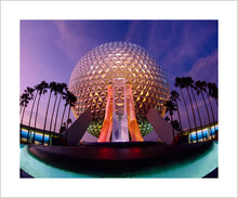 "Load image into Gallery viewer, ""Spaceship Earth at Dusk"" from Disney Photo Archives"