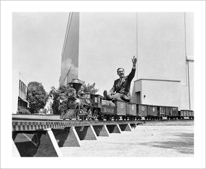 """Walt on Miniature Train"" from Disney Photo Archives"