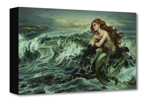 Painting of Ariel, a mermaid with red hair, sitting on a rock among crashing waves on the sea shore.