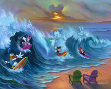 "Load image into Gallery viewer, ""Surfing with Friends"" by Jim Warren"