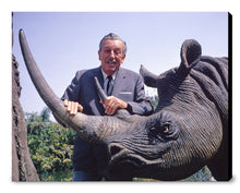 "Load image into Gallery viewer, ""Walt & Jungle Cruise Rhinoceros"" from Disney Photo Archives"