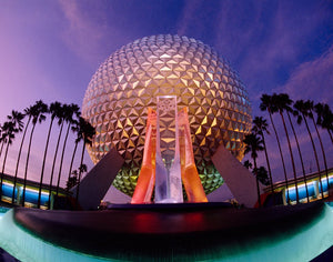 The Spaceship Earth attraction at Epcot, at the Walt Disney World Resort in Orlando, Florida, at dusk.