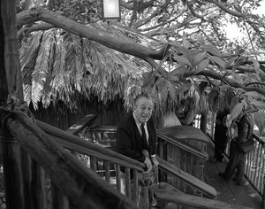 Walt Disney enjoying a preview of the Swiss Family Treehouse at Disneyland Park in September 1962
