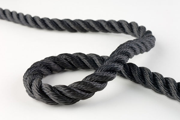 Black Polyester Rope Twisted 3 strand (5 sizes)