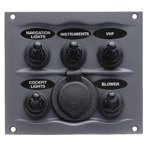 5 Switch panel with a combined 12V outlet socket.
