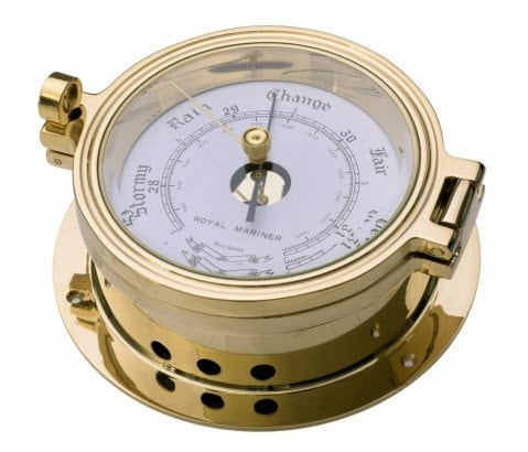 Brass Barometer - Port 90mm, 140mm base dia.