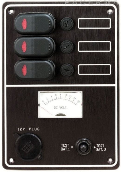 3 Gang Switch Panel 12 V with Cigarette Charger and and Voltmeter