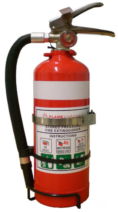 Red fire extinguisher with gage to display pressure