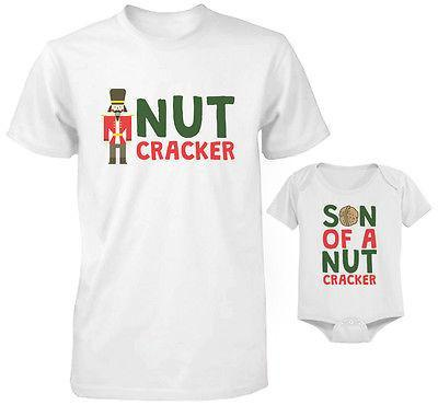 Cute Parent and Child Matching T-Shirt and Bodysuit Set - Son of a Nut Cracker