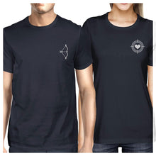 Load image into Gallery viewer, Bow And Arrow To Heart Target Matching Couple Navy Shirts