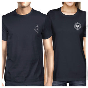 Bow And Arrow To Heart Target Matching Couple Navy Shirts