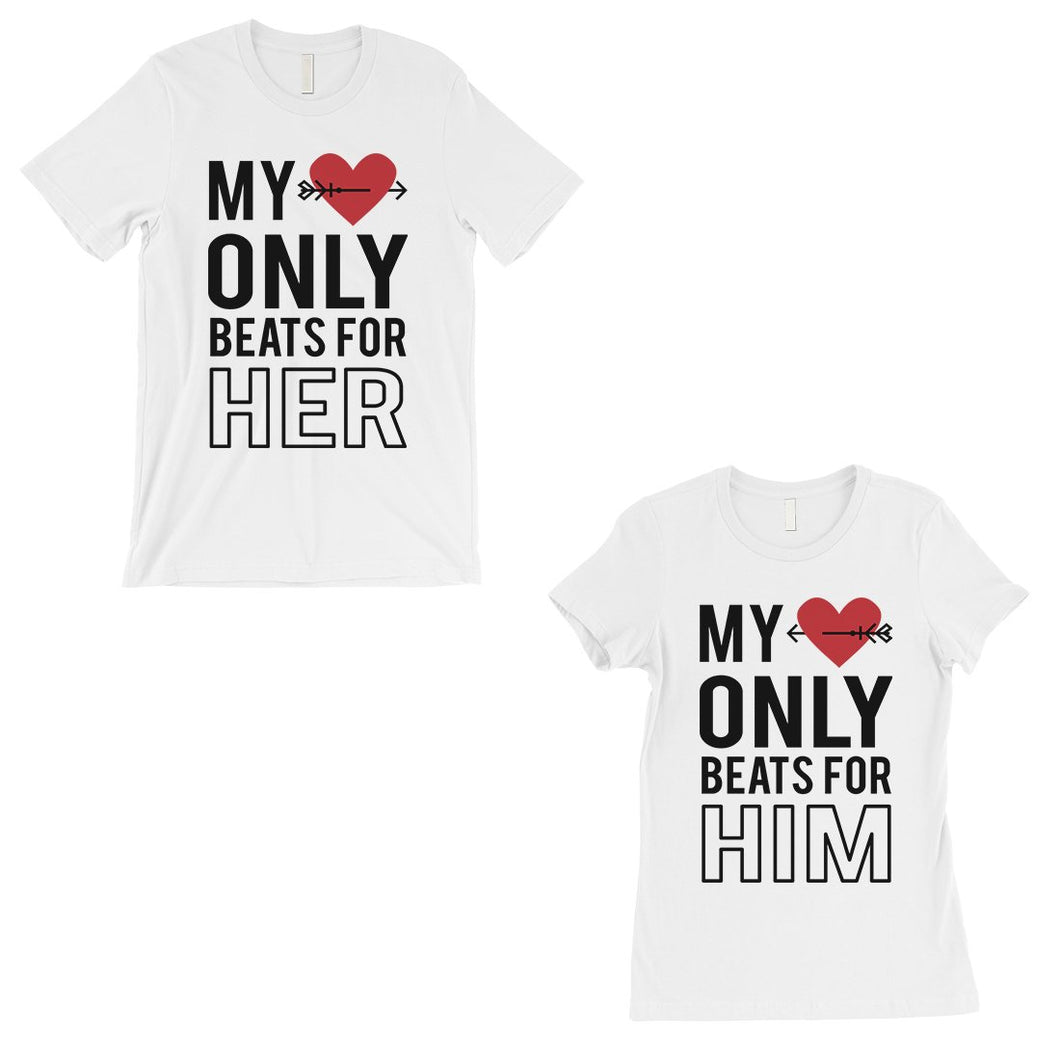 My Heart Beats For Her Him Matching Couple Gift Shirts White