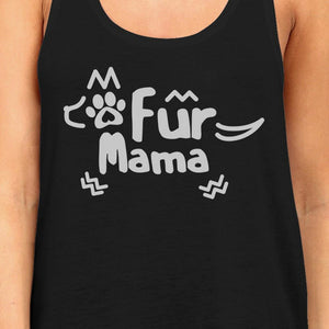 Fur Mama Women's Black Racerback Tanks Unique Gifts For Dog Owners