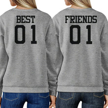 Load image into Gallery viewer, Best 01 And Friend 01 BFF Sweatshirts Friendship Matching Grey Fleece