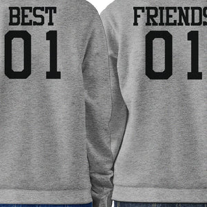 Best 01 And Friend 01 BFF Sweatshirts Friendship Matching Grey Fleece
