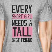 Load image into Gallery viewer, Tall Short Friend BFF Matching Shirts Womens Grey Short Sleeve Tee