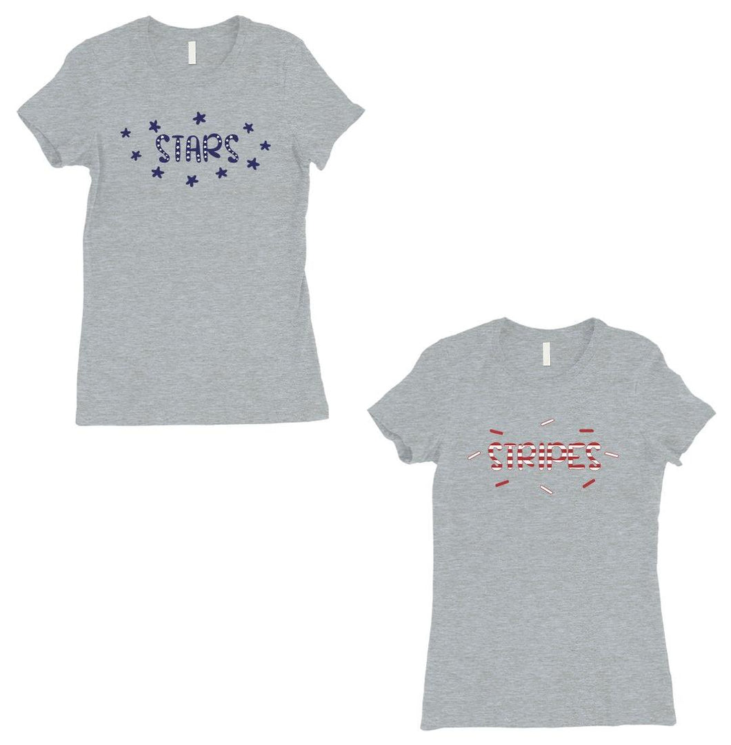 Stars And Stripes BFF Matching Shirts Womens Grey Surprise Gift