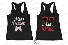Load image into Gallery viewer, BFF Tank Tops Miss Wild and Miss Sweet Matching Shirts for Best Friends