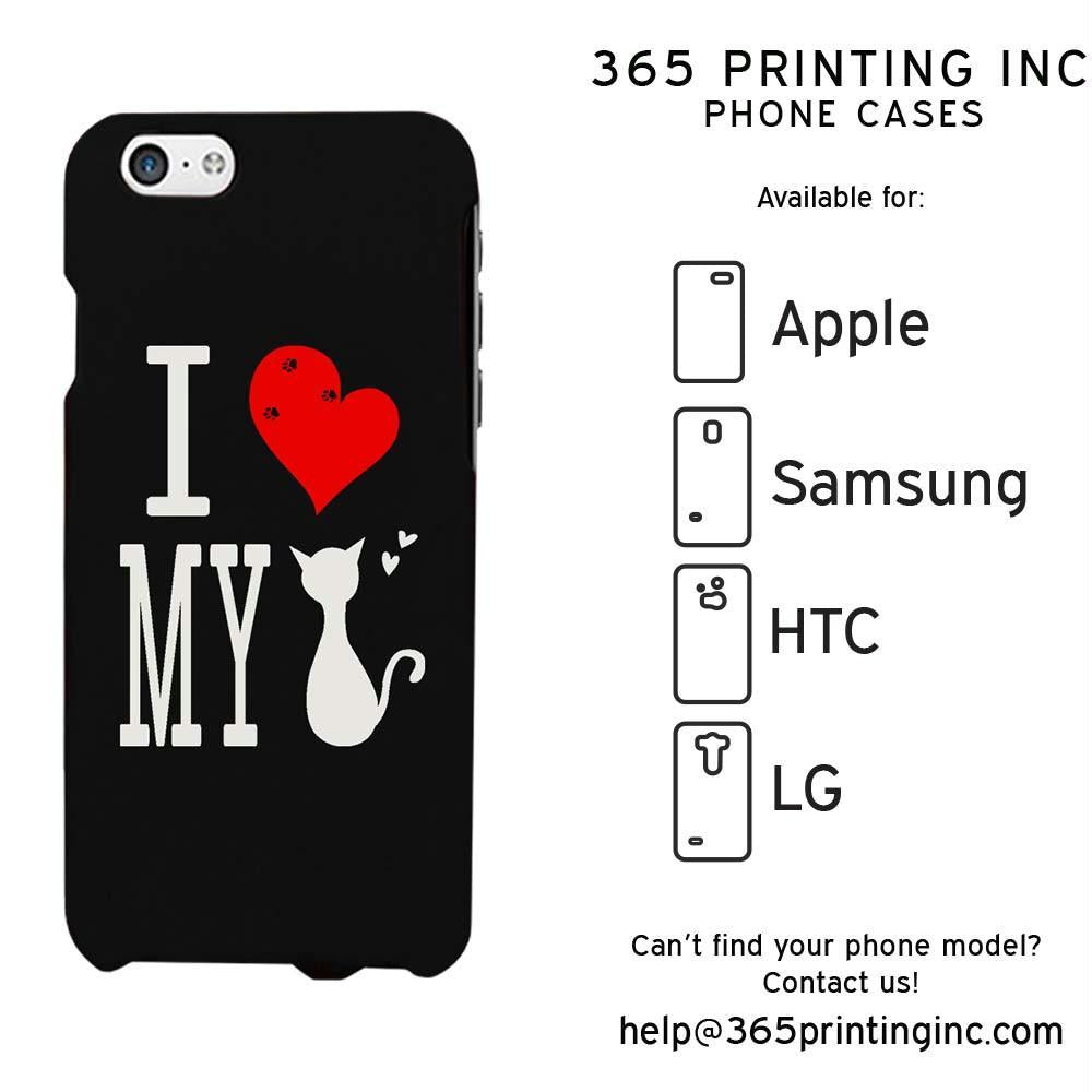 I Love My Cat Black Funny Phone Case Cute Graphic Design Phone Cover