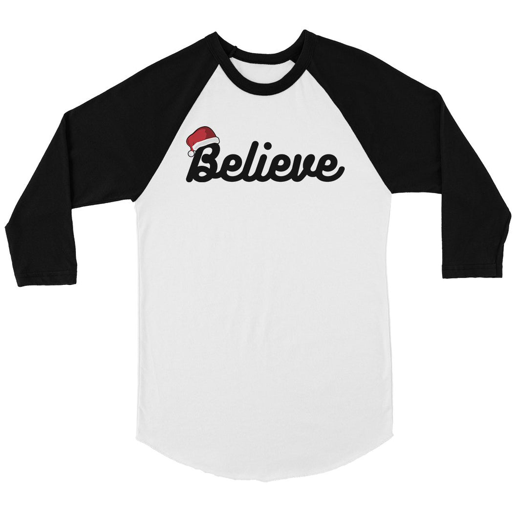 Believe Santa Hat Mens Baseball Shirt