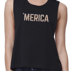 With Merica Womens Black Cotton Crop Tee Tribal Pattern Graphic Top