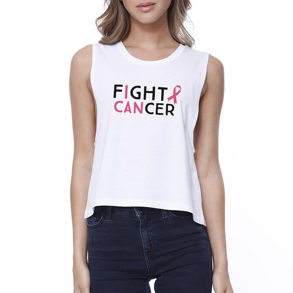 Fight Cancer I Can Womens White Crop Top